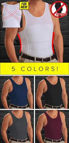 """The 5-second solution to a slimmer stomach – designed exclusively for men! Nobody will see that it's not just a regular """"undershirt""""! The innovative Men's Power Shaper with EXTREME HOLD-IN PANELS – the unique feature that sucks in your stomach automatically! 5 colors and a special offer today!"""