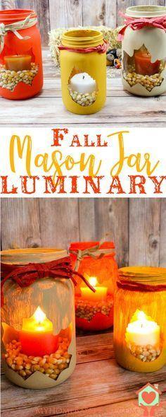 Fall Leaf Mason Jar Luminary | Luminary DIY | Fall Craft | Easy Fall DIY | Fall Home Decor | Easy Fall Home Decor | Home Decor DIY |  via @myhomebasedlife