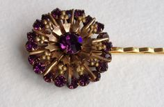 Vintage Purple Hair Pin in Gold / Purple and Gold Bobby Pin