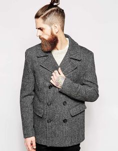 Image 1 of ASOS Harris Tweed Peacoat In Herringbone