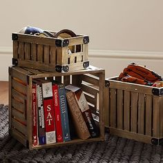 "Wooden Storage Crates #pbteen (Large: 14.5"" wide x 13"" deep x 11"" high)"