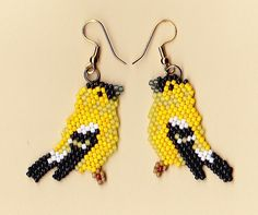 I so love that these aren't Delicas. Beaded Gold Finch Earrings by NativeWorks on Etsy, $21.00