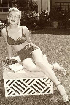 Swimsuit. Very classy. How sexy is she, and not even showing cleavage or belly-button?!  --#vintage #swimsuit
