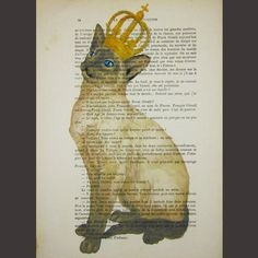 $10 Royal cat  - ORIGINAL ARTWORK Hand Painted Mixed Media on 1918 famous Parisien Magazine 'La Petit Illustration' by Coco De Paris