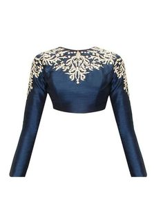 Fabron Blue embroidered designer raw silk long sleeves blouse for women…