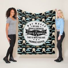 Way Maker Miracle Worker |Mustache  Christian Fleece Blanket  #FathersDayTShirts #fathersdayy #fathersdayparty fathers day gifts diy, fathers day gift ideas, fathers day gifts ideas from daughter, 4th of july party