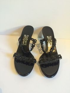 Salvatore Ferragamo NWOT Women's Black Leather Logo Strap Sandal Heels Size 8.5 #SalvatoreFerragamo #OpenToe #Formal