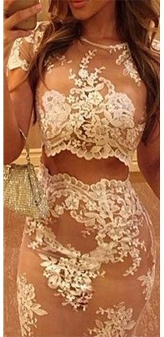 White Beige Sheer Mesh Lace Short Sleeve Scoop Neck Crop Top Bodycon Midi Skirt Two Piece Dress