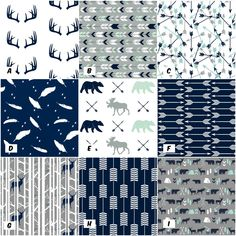 Design Your Own Quilt - Woodland Crib Blanket, Moose, Arrow, Rustic Nursery Quilt, Baby Boy Quilt, Patchwork, Mint, Gray, Navy, Minky Modern