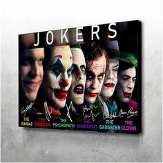 Joker Movie Phoenix Joker and Ledger Joker Signature Canvas Framed or Poster no frame Joker Poster, Joker Pics, Joker Art, Gotham Joker, Joker Images, Gotham City, Gangster Clown, Joker Kunst, Print On Demand