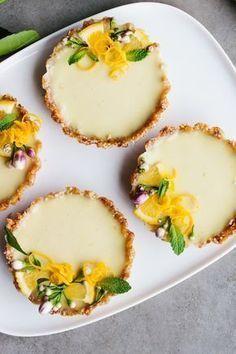 Easy, no bake vegan lemon tarts. Dairy, soy, gluten & refined sugar free. [Sub honey for rice syrup - JMD]