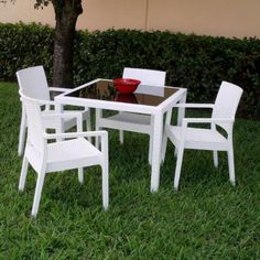 Miami Wickerlook Square Dining Set 5 Piece with Armchairs (White) (See Description) by Compamia. $845.00. Color: White. Size: See Description. Made from commercial grade resin. Wickerlook resin weave design. Not Woven, will not unravel.. Beautiful woven wicker look. Extremely durable for outdoor temperatures.. Resistant to U.V, chlorine, salt, stains, suntan oils. Table Top has dark tinted glass top. Easy. The Miami Wickerlook Square Dining Set 5 Piece with Arm...