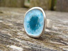 Personalised Enamel Medium Pebble Ring by DinoDaisy on Etsy
