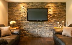 pre-fit | barkman stone veneers, Oxford color (fireplace mantle and bar backsplash)