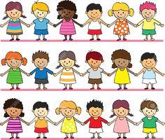 Cute children holding hand vector 574128 - by hatza on VectorStock® Holding Hands Images, Children Holding Hands, Matilda Roald Dahl, Stick Figure Family, Girl Reading Book, Kids Line, Simple Cartoon, Collaborative Art, Crafts