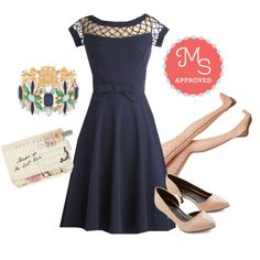 """With Only a Wink Dress in Navy"" by modcloth on Polyvore"