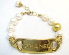 Vintage Chanel nameplate (from an authentic vintage Chanel belt), pearls, 14kt gold fl  OIE JEWELRY lizoie