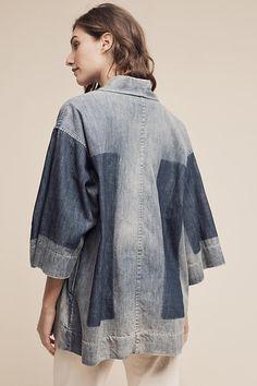 Washed Denim Kimono Denim Patchwork, Denim Fabric, Washed Denim, Smart Casual, Refashion, What To Wear, Ruffle Blouse, Tunic Tops, Fashion Outfits
