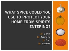 Halloween Trivia: Salt can protect your home from spirits. Halloween Trivia, Halloween Facts, October Calendar, Protecting Your Home, Turmeric, Spices, Salt, Canning, Home Canning