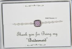 Tiny Silver Tanzanite Bridesmaid Bracelet, Purple Silver Bracelet Personal Message Option Bridesmaids Bracelet, Bridesmaid Gift GB1 by BridalTreasures4U on Etsy