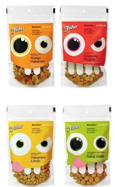 Nutty product packaging: Fisher Hispanic nuts by Uno Branding Cereal Packaging, Chip Packaging, Kids Packaging, Clever Packaging, Fruit Packaging, Food Packaging Design, Packaging Design Inspiration, Brand Packaging, Product Packaging