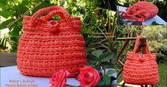 Um blog de crochet em fio de malha, trapilhos Diy Crochet Bag, Tapestry Crochet, T Shirt Yarn, Yarn Crafts, Straw Bag, Purses And Bags, Pouch, Embroidery, Knitting
