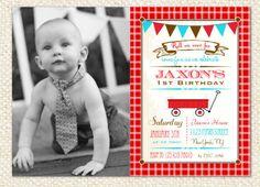 Red Wagon Birthday Invitations by LollipopPrints on Etsy, $12.00