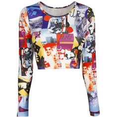 Print Phot Print Crop Top ($19) ❤ liked on Polyvore