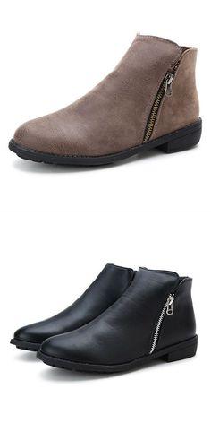fc9137e795ea New women ladies flat ankle boots low heel vintage double zipper zip up  boots boots 2