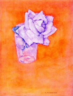 "Mondrian ""White Rose in a Glass"" 1921  These are my favorite colors to see together."