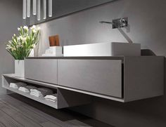 Bathroom furniture and kitchen furniture by Rifra Italian Bathroom, Modern Bathroom, Bathroom Bath, Bathroom Vanities, Wall Mounted Vanity, Bathroom Collections, Vanity Units, Bathroom Vanity Lighting, Bathroom Interior Design