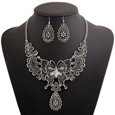 A Suit Stylish Floral Butterfly Pendant Necklace And Earrings For Women