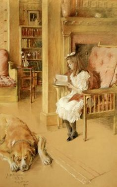 """Cynthia Reading"" -- by Rosina Emmet Sherwood (1854 – 1948)"