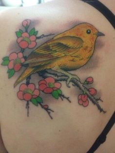 My yellow bird done by Geoff at Lark Tattoo in Albany, NY. Ignore the blood... ?