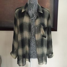 Sheer Flannel Band of Gypsies. Worn minimally. Long and sheer. Button front closure. Great with black leggings or denim cut offs. Band of Gypsies Tops Button Down Shirts