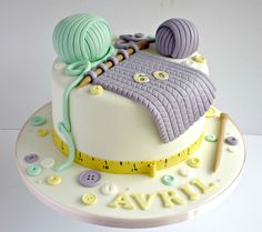 Knitting themed birthday cake | SwirlsBakery | Flickr