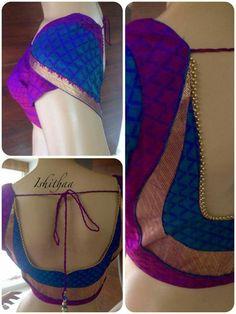 open back choli blouse inspiration: Pattu Saree Blouse Designs, Blouse Designs Silk, Designer Blouse Patterns, Bridal Blouse Designs, Blouse Back Neck Designs, Dress Designs, Patch Work Blouse Designs, Simple Blouse Designs, Stylish Blouse Design