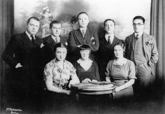 """""""Le rendez-vous de chasse"""", Bruxelles, 1934.  [Sitting from left to right: Irène Hamoir, Marthe Beauvoisin, Georgette Magritte. Standing from left to right: E.L.T. Mesens, René Magritte, Louis Scutenaire, André Souris, Paul Nougé]  Belgian Surrealism emerged with the publication of Correspondance in 1924, the same year as Breton's First Manifesto. The periodical was printed on different colored fliers and featured critiques of many of the French Surrealists' writing & philosophies. Other…"""