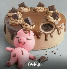 Bolo little pig 🍰🐷 . by Leitte - Cake Designer Candy Birthday Cakes, Pretty Birthday Cakes, Pretty Cakes, Cute Cakes, Beautiful Cakes, Amazing Cakes, Cake Designs For Kids, Kreative Desserts, Cute Baking
