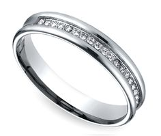 Channel Diamond Men's Wedding Ring in White Gold. I like this, there are no hard edges to it