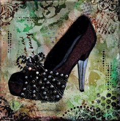 Image of original artwork done of leather and lace shoes with metal heel and metal studs on an abstract background. This artwork was created by #JanelleNichol. #mixed media #shoes #art #abstract
