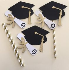 Items similar to GOLD GRADUATION HAT centerpiece picks, glittery gold white black graduation centerpiece, graduation hat centerpiece on Etsy Graduation Crafts, Graduation Decorations, Graduation Centerpiece, Paper Straws, Gold Centerpieces, White Centerpiece, Black White Gold, Grad Parties, Ideas Party
