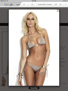 CHARLIE BIKINI $240.00  Item# rs625rs626  Platinum string bikini. Triangle top has removable cups. Tie Neck/Tie Back. Fully lined. Italian Nylon/Lycra body and lining.