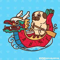 Rah-rah-rah Dragon Boat season is upon us Vancouver Pootie Pals go out and enjoy the Dragon Boat Festival this weekend - sunshine good energy and good people Dragon Boat Festival, Cute Kawaii Drawings, Kawaii Art, Pug Wallpaper, Pug Cartoon, Pet Ramp, Pug Art, Pug Pictures, Unicorn Stickers