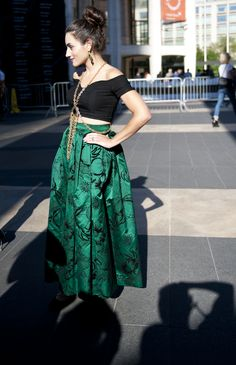 NYFW Street Style - crop top with full, pleated circle skirt.