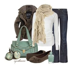 turquoise fall   Fall outfit, turquoise, cream, and grey   My Style
