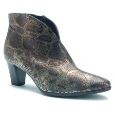 Leather Python Point-toe Bootie Ankle Boot