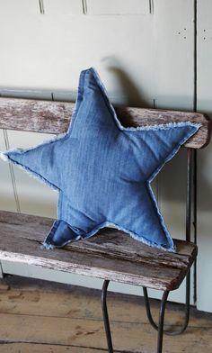 Denim star cushion | Plumo