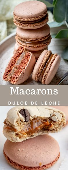 Dulce de Leche Macarons Recipe uses Italian Macaron Shell recipe and dulce de leche as the filling. Using dulce de leche as the macaron filling is the most genius thing, since it's easy and of course - super delicious. Holiday Cookie Recipes, Easy Cookie Recipes, Homemade Desserts, Mini Desserts, Healthy Dessert Recipes, Easy Desserts, Delicious Desserts, Easy Macaron Recipe, Macarons Filling Recipe