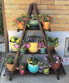 The Polka Dot Chicken: A Slow Sunday Stitching where I ponder projects and porch furniture. Garden Shelves, Plant Shelves, House Plants Decor, Plant Decor, Garden Yard Ideas, Garden Projects, Diy Plant Stand, Outdoor Plant Stands, Porch Furniture